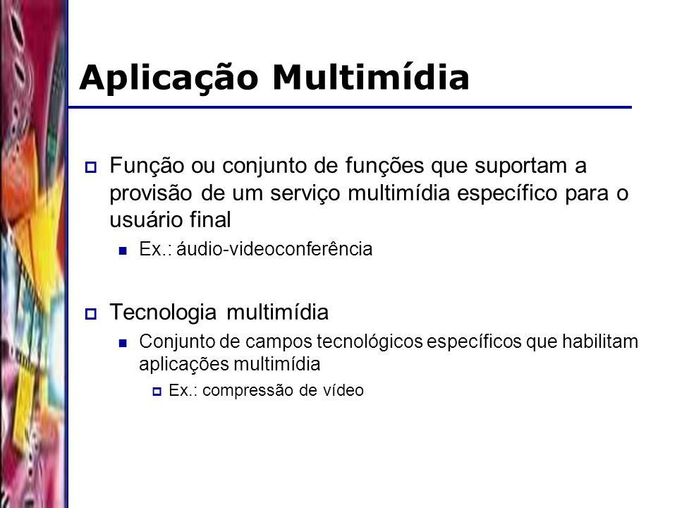 DSC/CCT/UFCG Aplicação Multimídia Função ou conjunto de funções que suportam a provisão de um serviço multimídia específico para o usuário final Ex.: áudio-videoconferência Tecnologia multimídia Conjunto de campos tecnológicos específicos que habilitam aplicações multimídia Ex.: compressão de vídeo