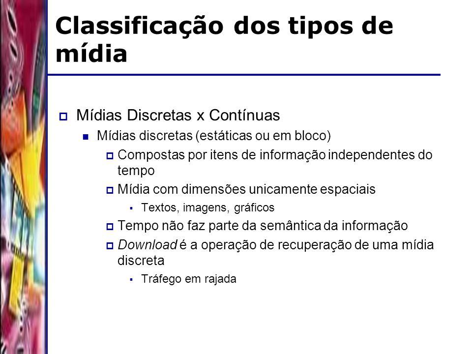 DSC/CCT/UFCG Classificação dos tipos de mídia Mídias Discretas x Contínuas Mídias discretas (estáticas ou em bloco) Compostas por itens de informação