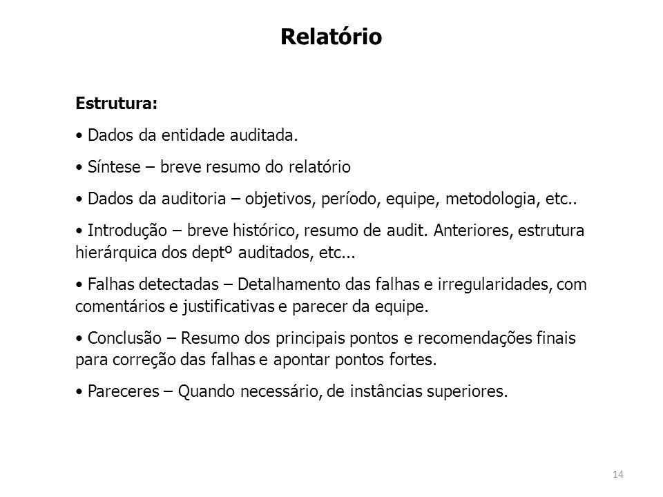 14 Relatório Estrutura: Dados da entidade auditada. Síntese – breve resumo do relatório Dados da auditoria – objetivos, período, equipe, metodologia,