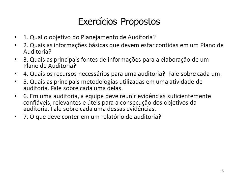 Exercícios Propostos 1. Qual o objetivo do Planejamento de Auditoria? 2. Quais as informações básicas que devem estar contidas em um Plano de Auditori
