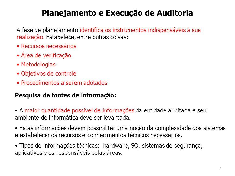 2 Planejamento e Execução de Auditoria A maior quantidade possível de informações da entidade auditada e seu ambiente de informática deve ser levantada.