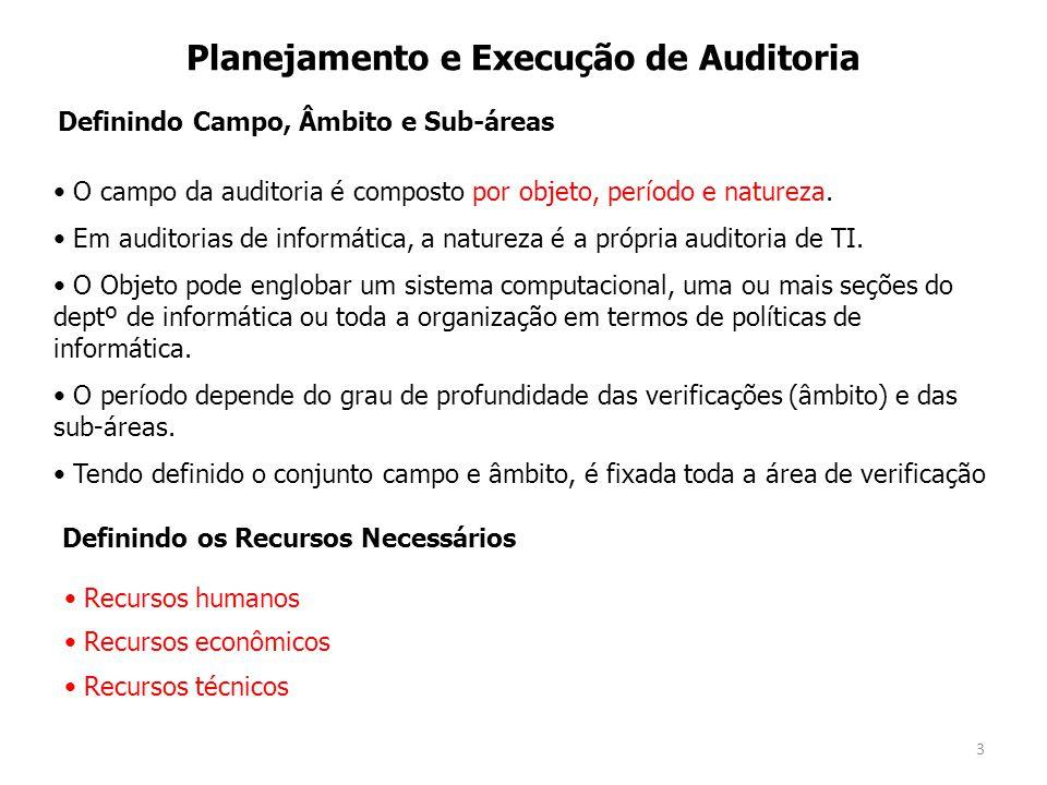 3 Planejamento e Execução de Auditoria O campo da auditoria é composto por objeto, período e natureza. Em auditorias de informática, a natureza é a pr