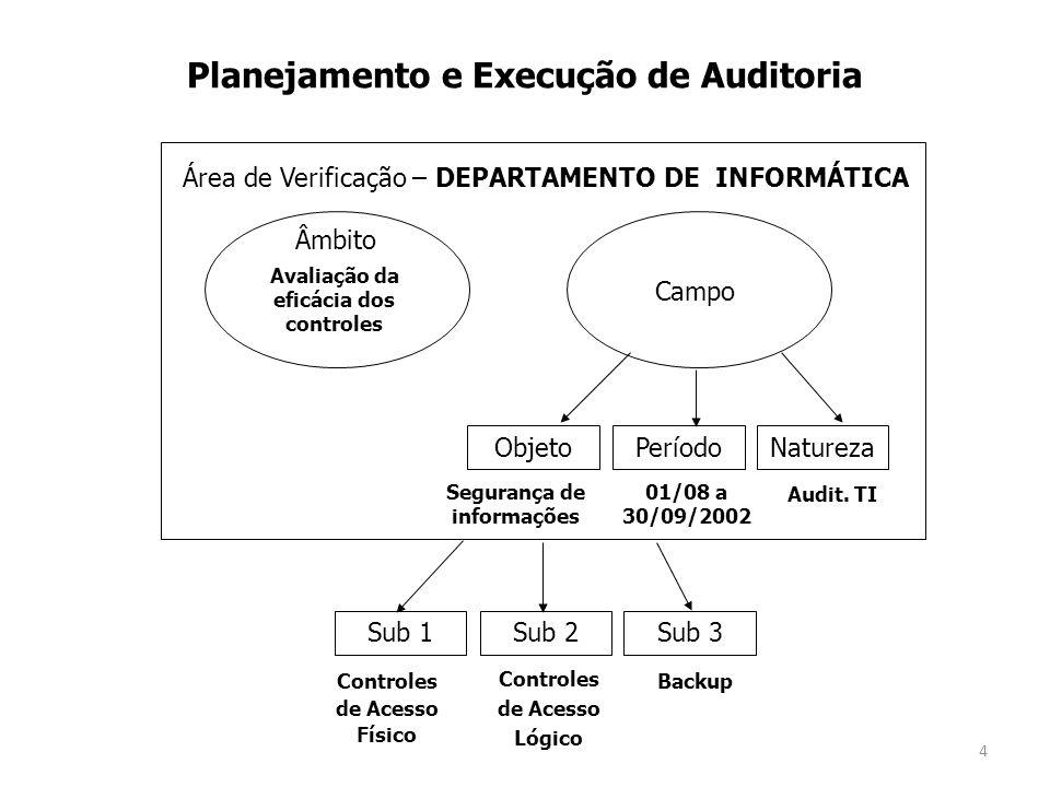 4 ObjetoPeríodoNatureza Campo Âmbito Sub 1Sub 2Sub 3 Área de Verificação – DEPARTAMENTO DE INFORMÁTICA Planejamento e Execução de Auditoria Avaliação da eficácia dos controles Segurança de informações 01/08 a 30/09/2002 Audit.