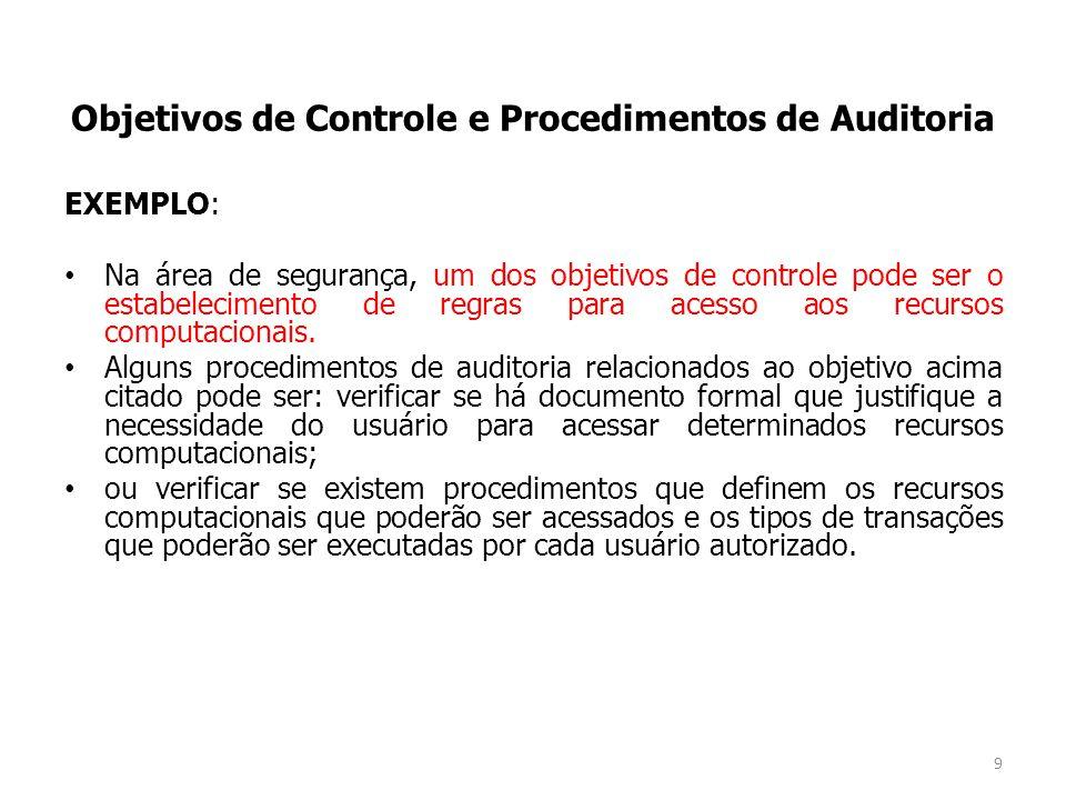 EXEMPLO: Na área de segurança, um dos objetivos de controle pode ser o estabelecimento de regras para acesso aos recursos computacionais.