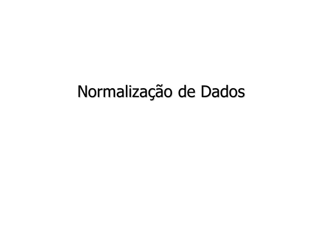 Normalização de Dados