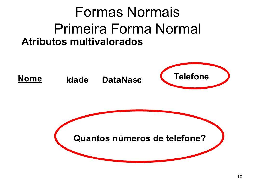 10 Formas Normais Primeira Forma Normal Atributos multivalorados Nome IdadeDataNasc Telefone Quantos números de telefone