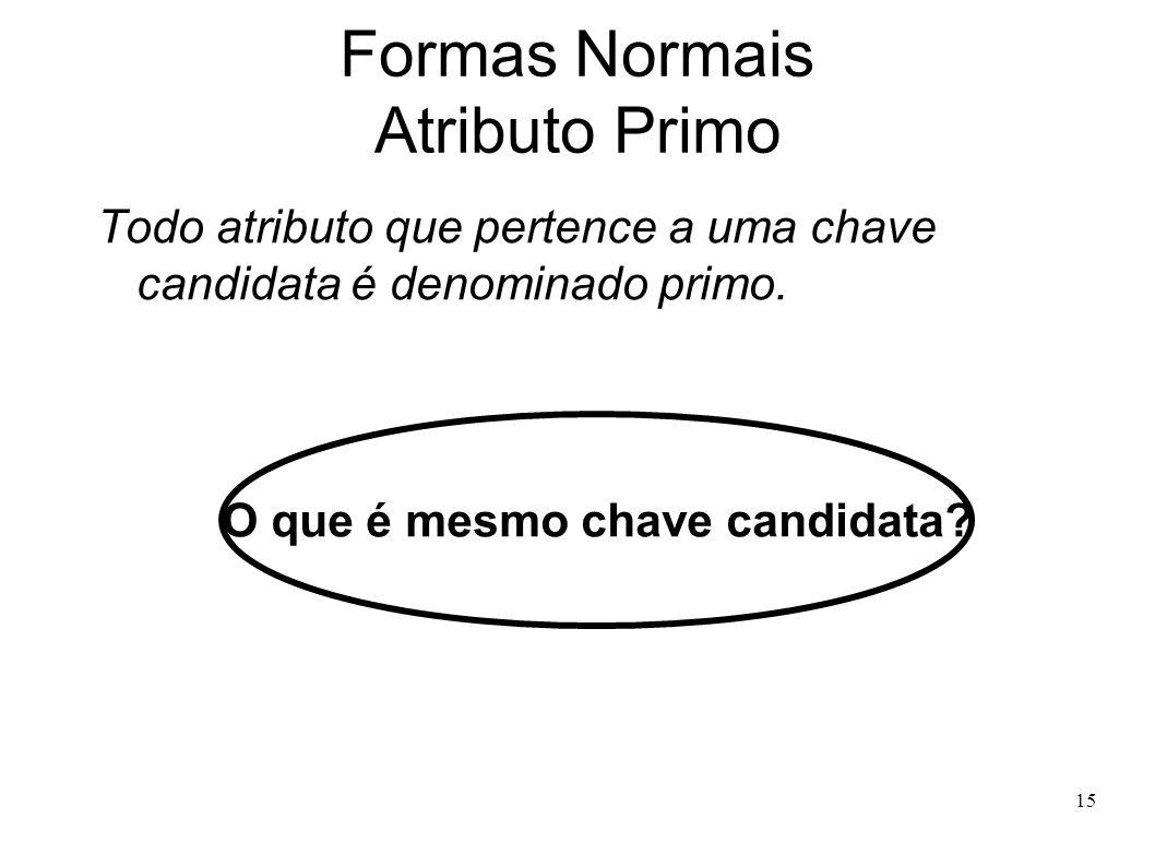 15 Formas Normais Atributo Primo Todo atributo que pertence a uma chave candidata é denominado primo.