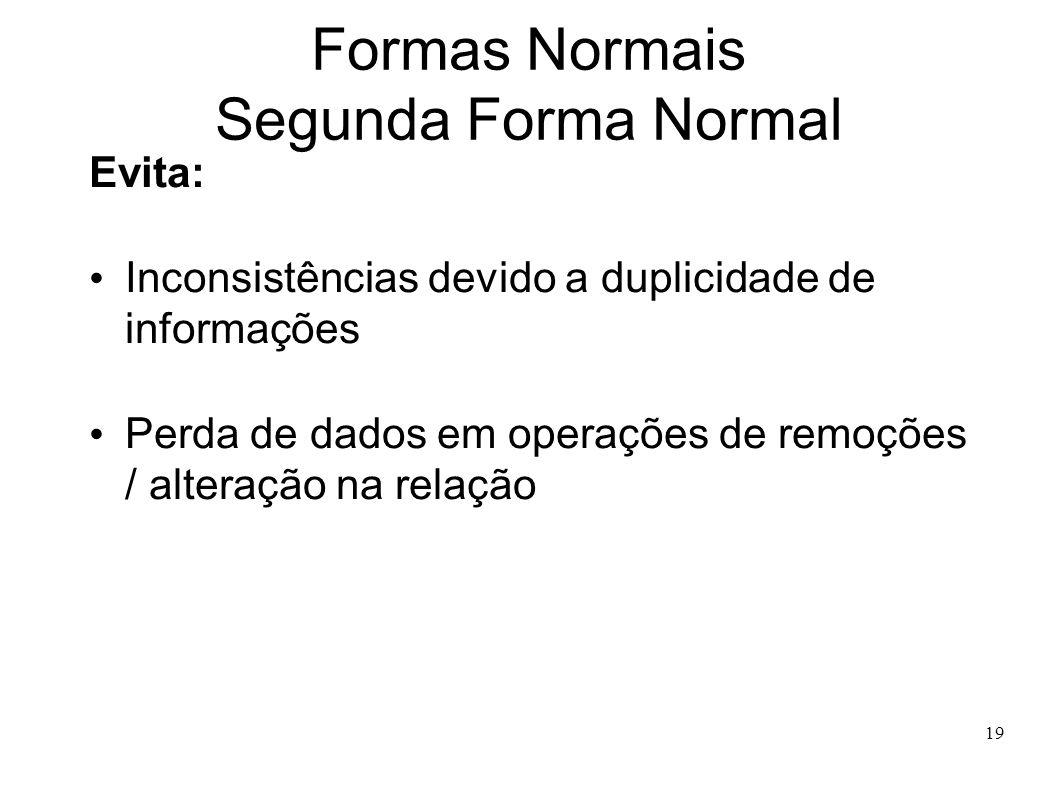 19 Formas Normais Segunda Forma Normal Evita: Inconsistências devido a duplicidade de informações Perda de dados em operações de remoções / alteração na relação