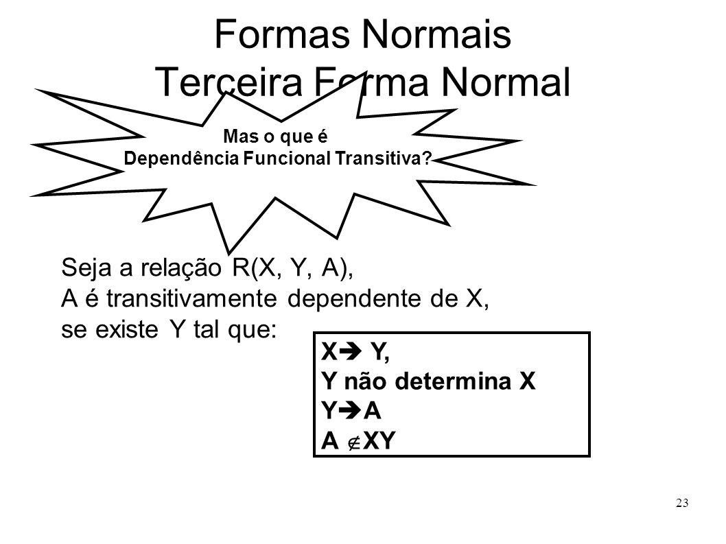 23 Formas Normais Terceira Forma Normal Seja a relação R(X, Y, A), A é transitivamente dependente de X, se existe Y tal que: Mas o que é Dependência Funcional Transitiva.