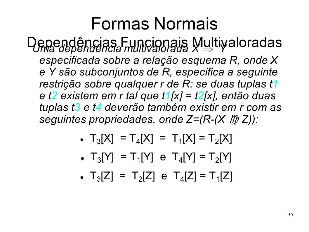 35 Formas Normais Dependências Funcionais Multivaloradas Uma dependência multivalorada X Y especificada sobre a relação esquema R, onde X e Y são subconjuntos de R, especifica a seguinte restrição sobre qualquer r de R: se duas tuplas t1 e t2 existem em r tal que t1[x] = t2[x], então duas tuplas t3 e t4 deverão também existir em r com as seguintes propriedades, onde Z=(R-(X Z)): T 3 [X] = T 4 [X] = T 1 [X] = T 2 [X] T 3 [Y] = T 1 [Y] e T 4 [Y] = T 2 [Y] T 3 [Z] = T 2 [Z] e T 4 [Z] = T 1 [Z]