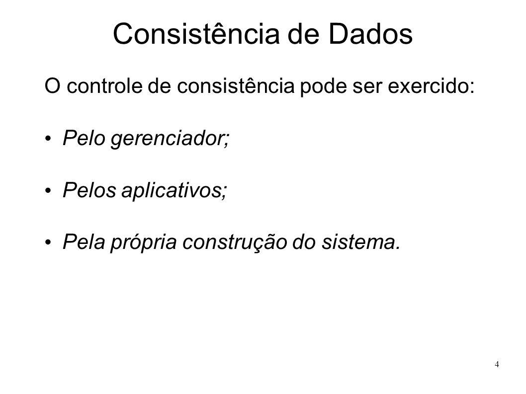4 Consistência de Dados O controle de consistência pode ser exercido: Pelo gerenciador; Pelos aplicativos; Pela própria construção do sistema.