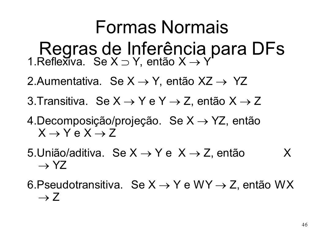 46 Formas Normais Regras de Inferência para DFs 1.Reflexiva.