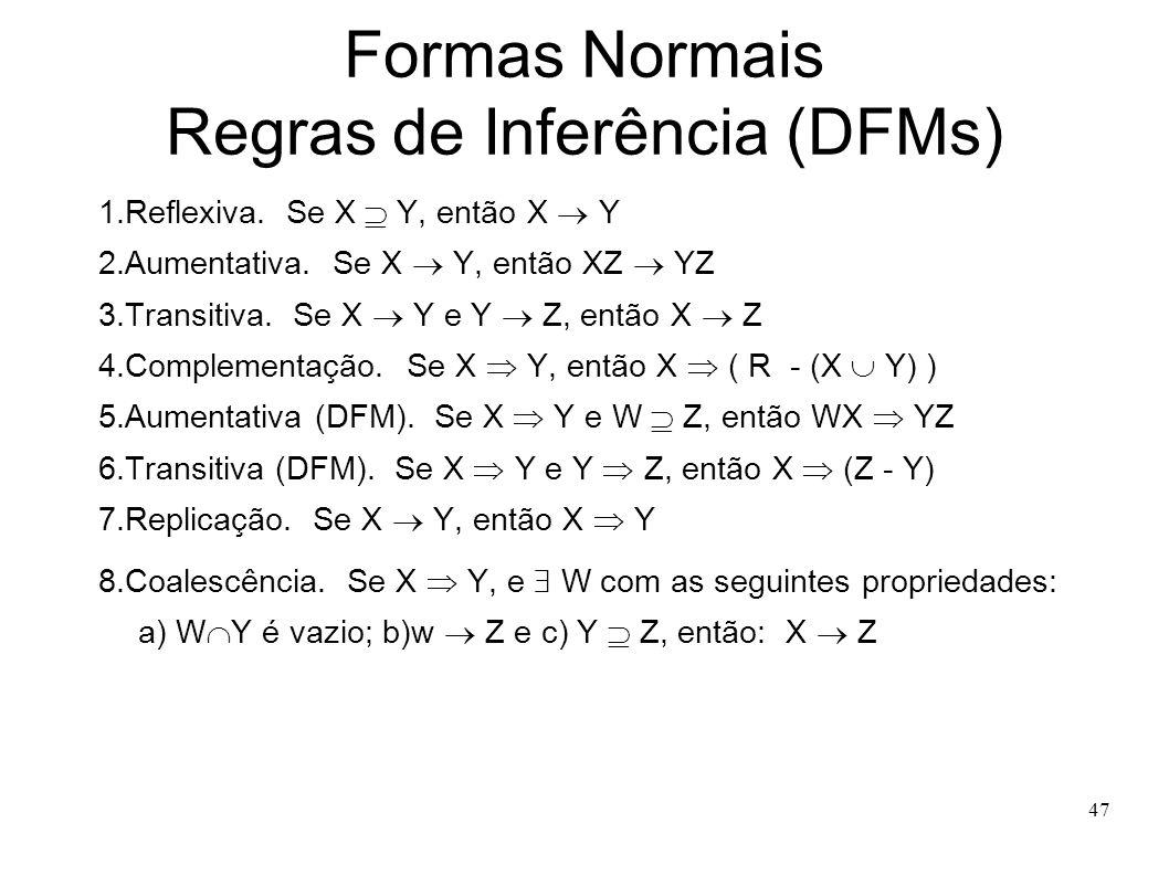 47 Formas Normais Regras de Inferência (DFMs) 1.Reflexiva.
