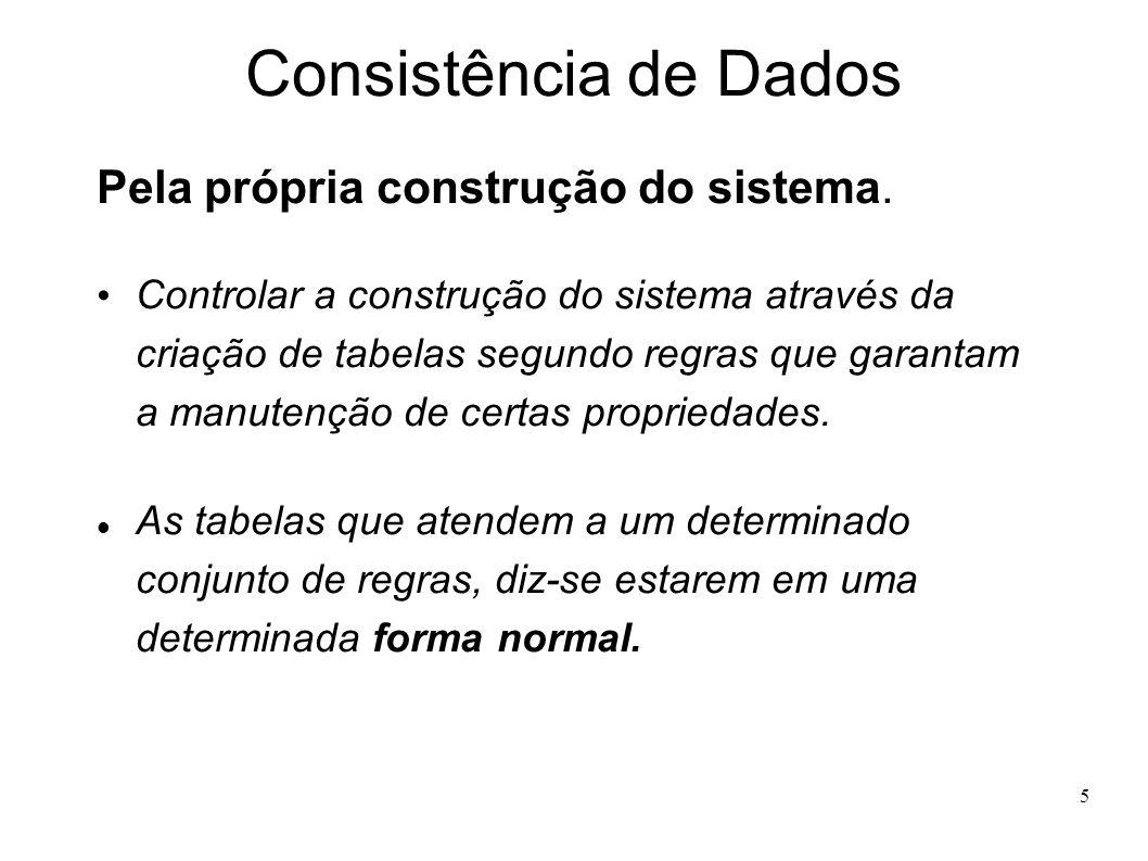 5 Consistência de Dados Pela própria construção do sistema.