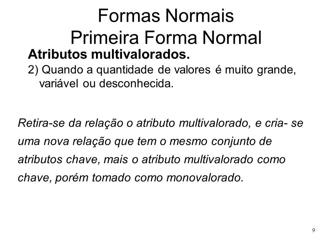 9 Formas Normais Primeira Forma Normal Atributos multivalorados.