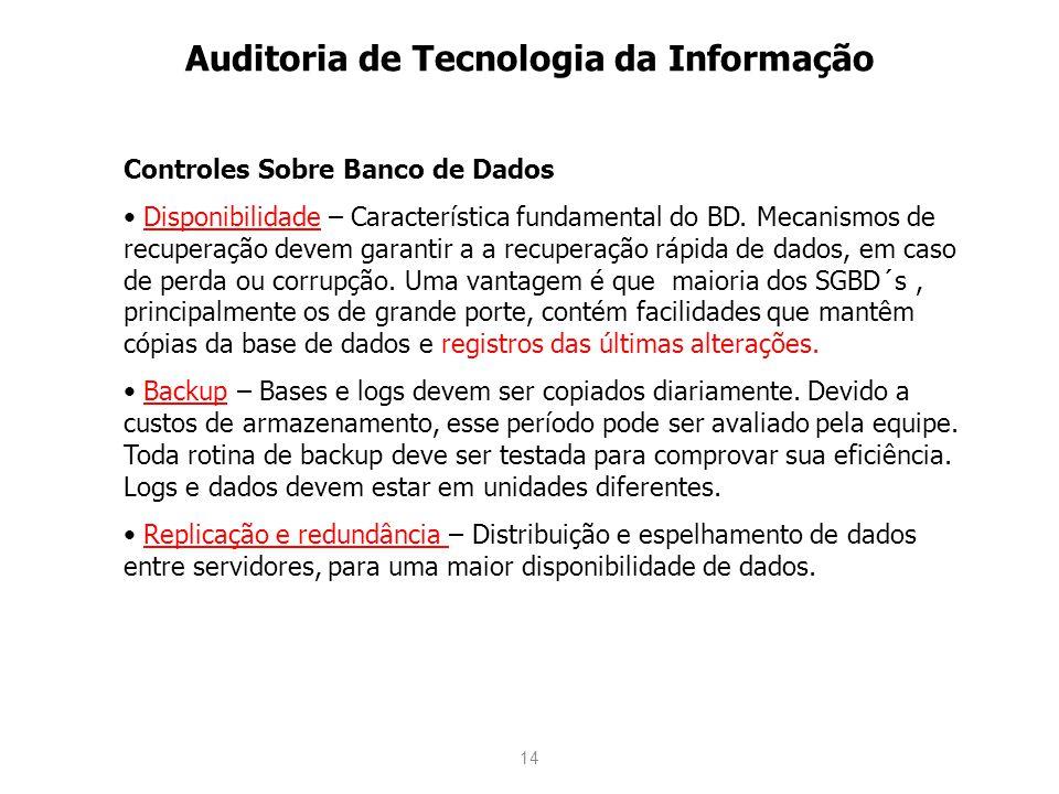14 Auditoria de Tecnologia da Informação Controles Sobre Banco de Dados Disponibilidade – Característica fundamental do BD. Mecanismos de recuperação