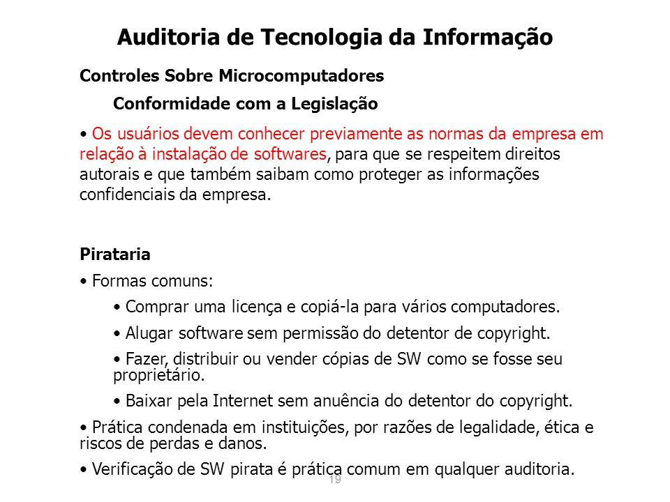 19 Auditoria de Tecnologia da Informação Controles Sobre Microcomputadores Conformidade com a Legislação Os usuários devem conhecer previamente as nor