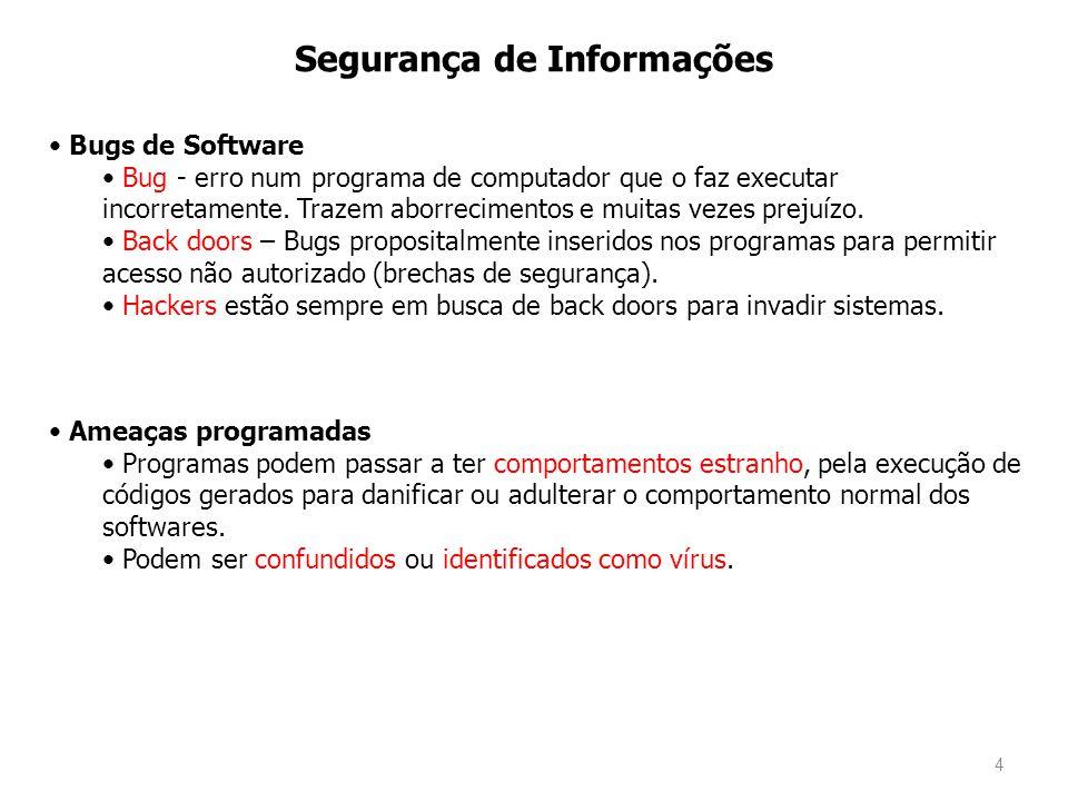 4 Segurança de Informações Bugs de Software Bug - erro num programa de computador que o faz executar incorretamente. Trazem aborrecimentos e muitas ve