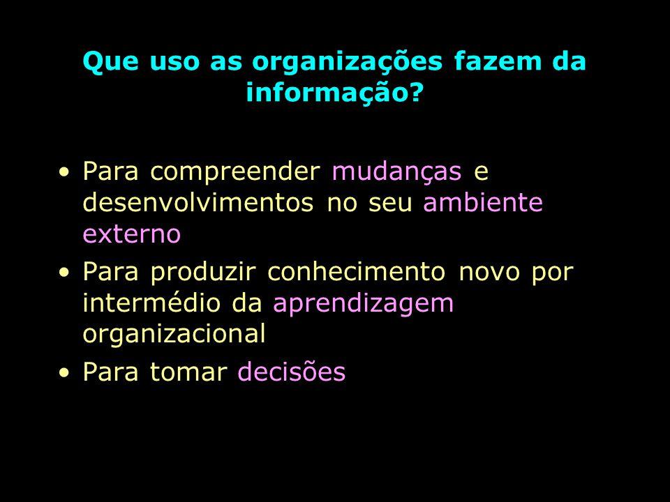 Que uso as organizações fazem da informação.
