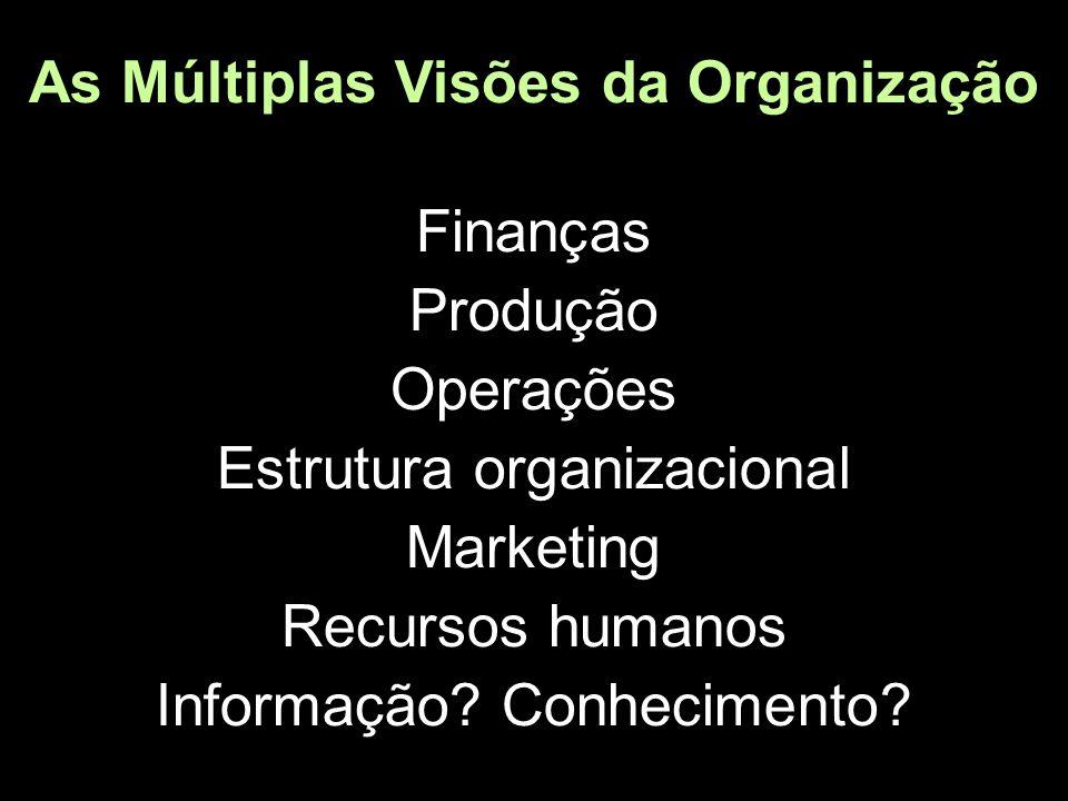 As Múltiplas Visões da Organização Finanças Produção Operações Estrutura organizacional Marketing Recursos humanos Informação.