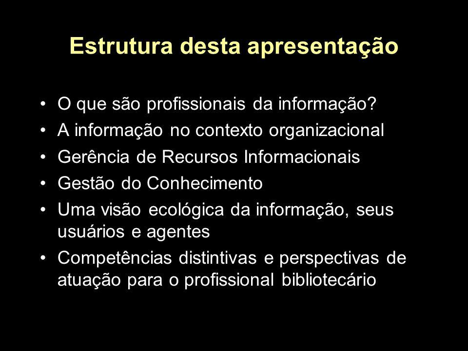 Estrutura desta apresentação O que são profissionais da informação.
