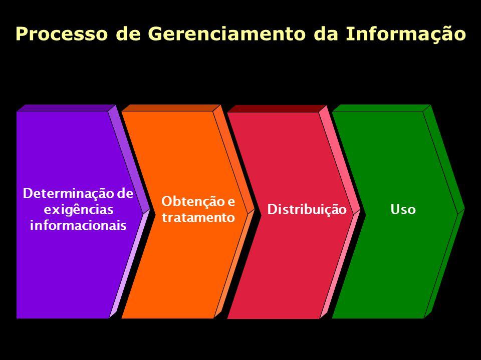 Processo de Gerenciamento da Informação Determinação de exigências informacionais Obtenção e tratamento DistribuiçãoUso