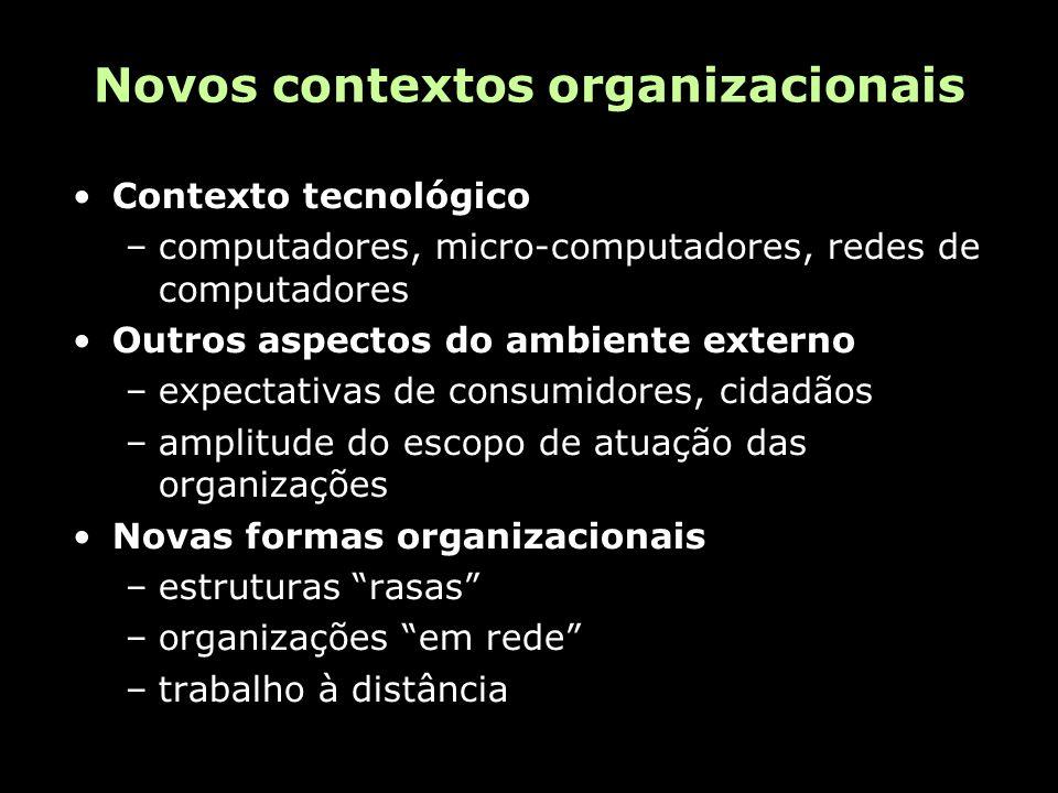 Novos contextos organizacionais Contexto tecnológico –computadores, micro-computadores, redes de computadores Outros aspectos do ambiente externo –expectativas de consumidores, cidadãos –amplitude do escopo de atuação das organizações Novas formas organizacionais –estruturas rasas –organizações em rede –trabalho à distância