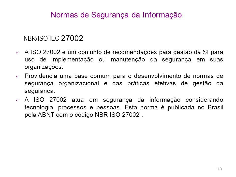 10 Normas de Segurança da Informação A ISO 27002 é um conjunto de recomendações para gestão da SI para uso de implementação ou manutenção da segurança