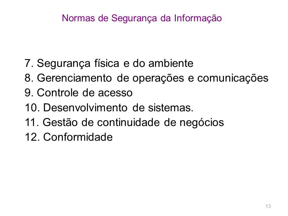 13 Normas de Segurança da Informação 7. Segurança física e do ambiente 8. Gerenciamento de operações e comunicações 9. Controle de acesso 10. Desenvol