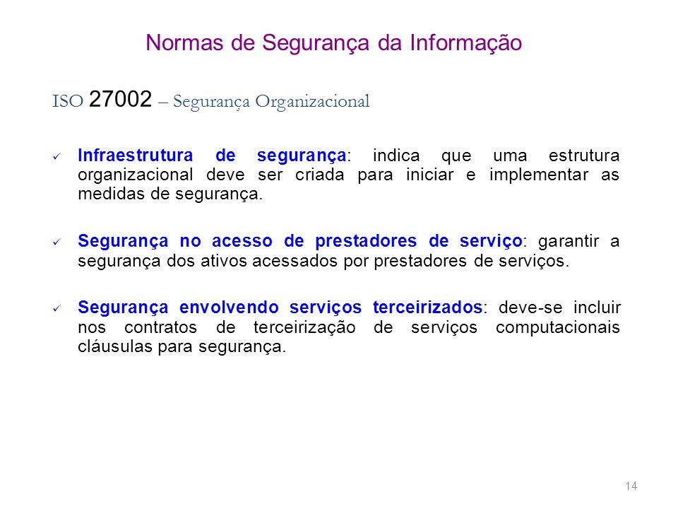 14 Normas de Segurança da Informação ISO 27002 – Segurança Organizacional Infraestrutura de segurança: indica que uma estrutura organizacional deve se