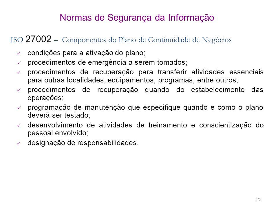 23 Normas de Segurança da Informação ISO 27002 – Componentes do Plano de Continuidade de Negócios condições para a ativação do plano; procedimentos de