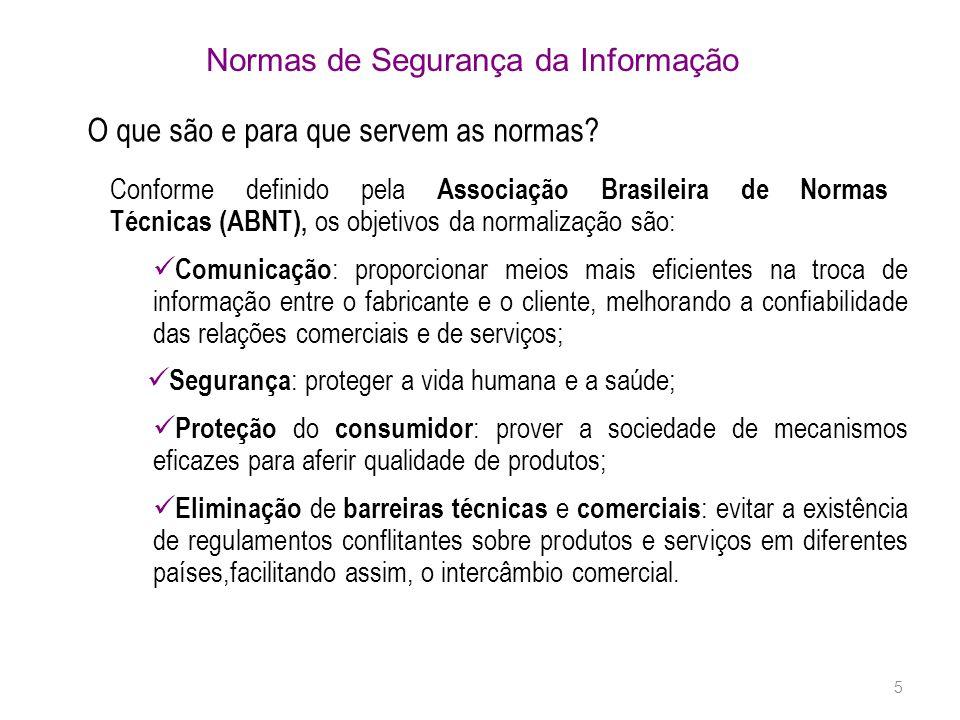 5 O que são e para que servem as normas? Conforme definido pela Associação Brasileira de Normas Técnicas (ABNT), os objetivos da normalização são: Com