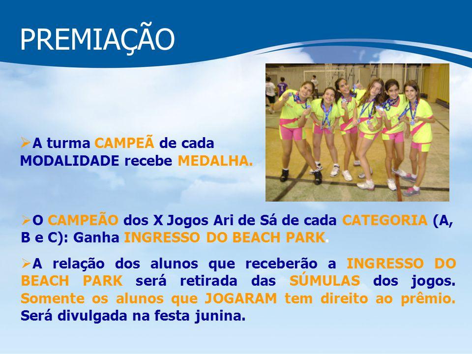 PREMIAÇÃO O CAMPEÃO dos X Jogos Ari de Sá de cada CATEGORIA (A, B e C): Ganha INGRESSO DO BEACH PARK. A relação dos alunos que receberão a INGRESSO DO