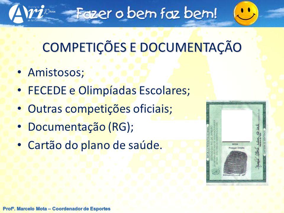 COMPETIÇÕES E DOCUMENTAÇÃO Amistosos; FECEDE e Olimpíadas Escolares; Outras competições oficiais; Documentação (RG); Cartão do plano de saúde.