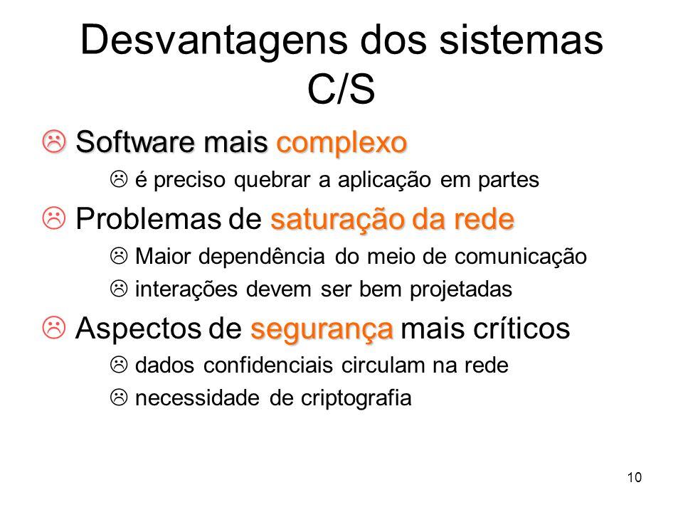 10 Desvantagens dos sistemas C/S Software mais complexo Software mais complexo é preciso quebrar a aplicação em partes saturação da rede Problemas de