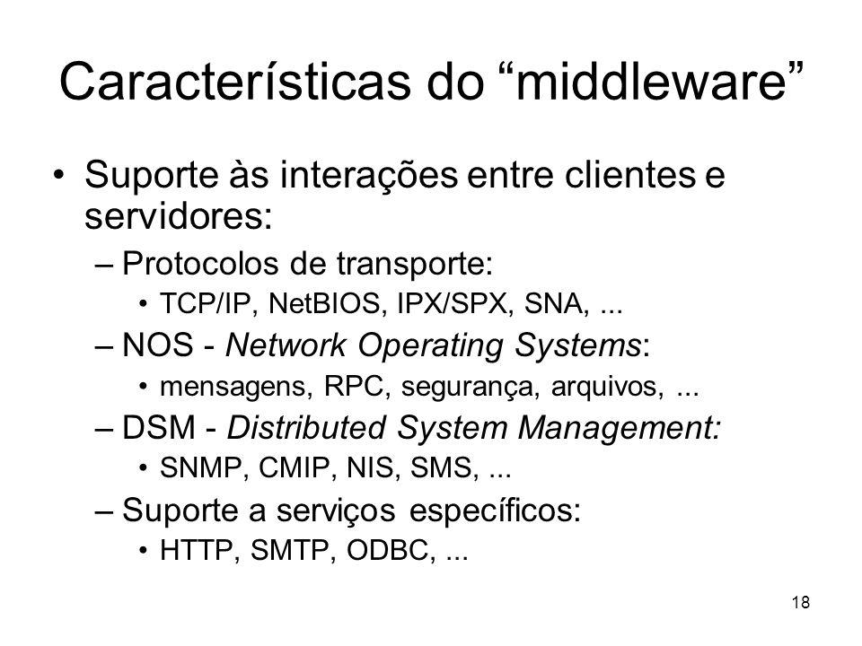 18 Características do middleware Suporte às interações entre clientes e servidores: –Protocolos de transporte: TCP/IP, NetBIOS, IPX/SPX, SNA,... –NOS