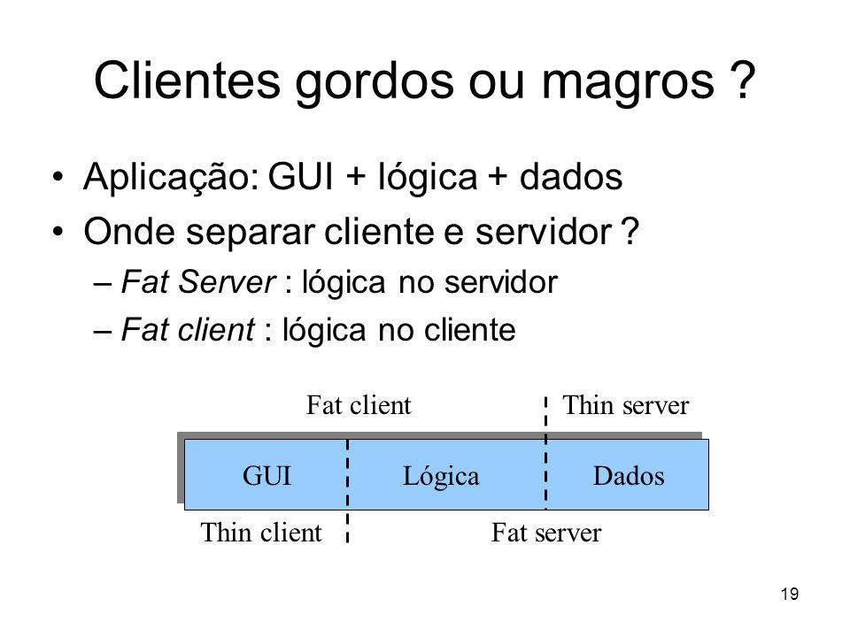 19 Clientes gordos ou magros ? Aplicação: GUI + lógica + dados Onde separar cliente e servidor ? –Fat Server : lógica no servidor –Fat client : lógica
