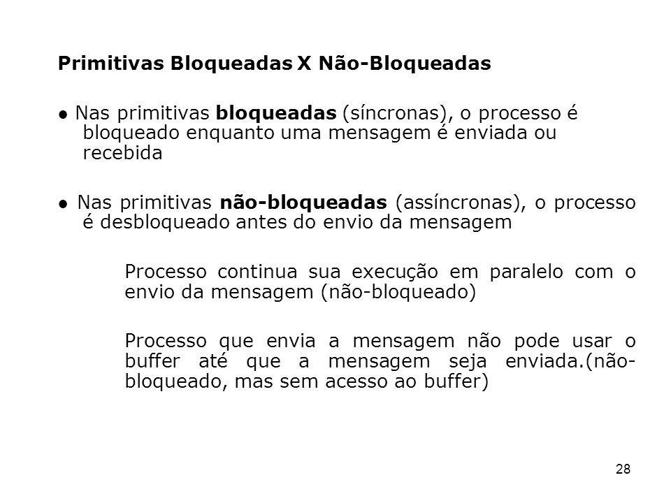 28 Primitivas Bloqueadas X Não-Bloqueadas Nas primitivas bloqueadas (síncronas), o processo é bloqueado enquanto uma mensagem é enviada ou recebida Na