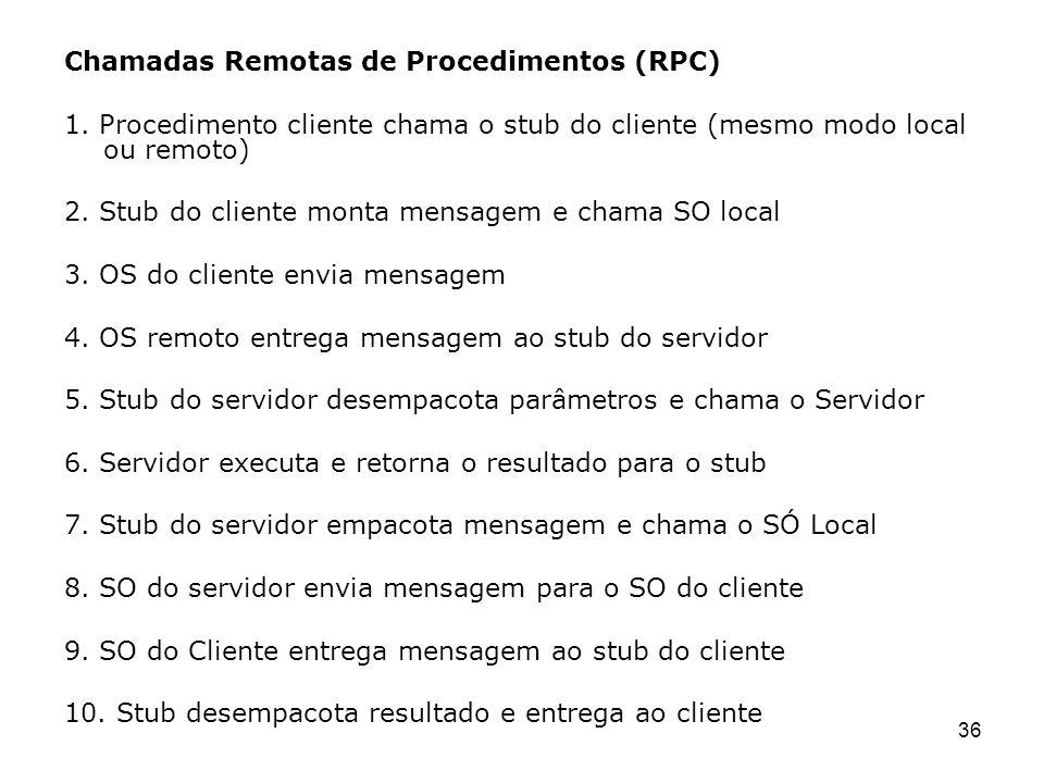 36 Chamadas Remotas de Procedimentos (RPC) 1. Procedimento cliente chama o stub do cliente (mesmo modo local ou remoto) 2. Stub do cliente monta mensa