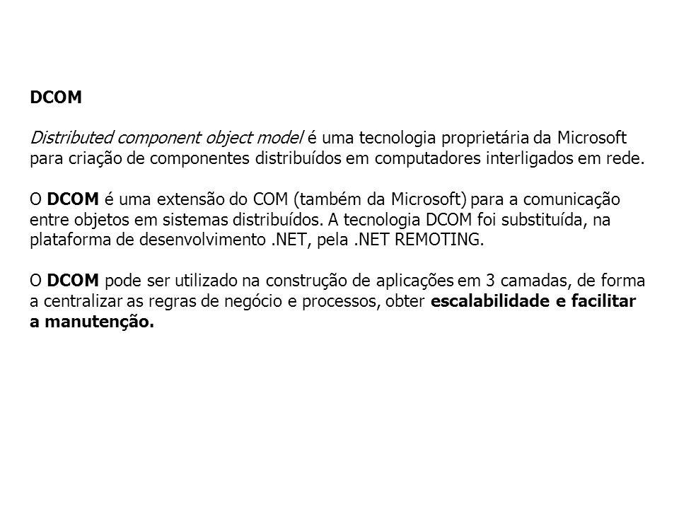 DCOM Distributed component object model é uma tecnologia proprietária da Microsoft para criação de componentes distribuídos em computadores interligad