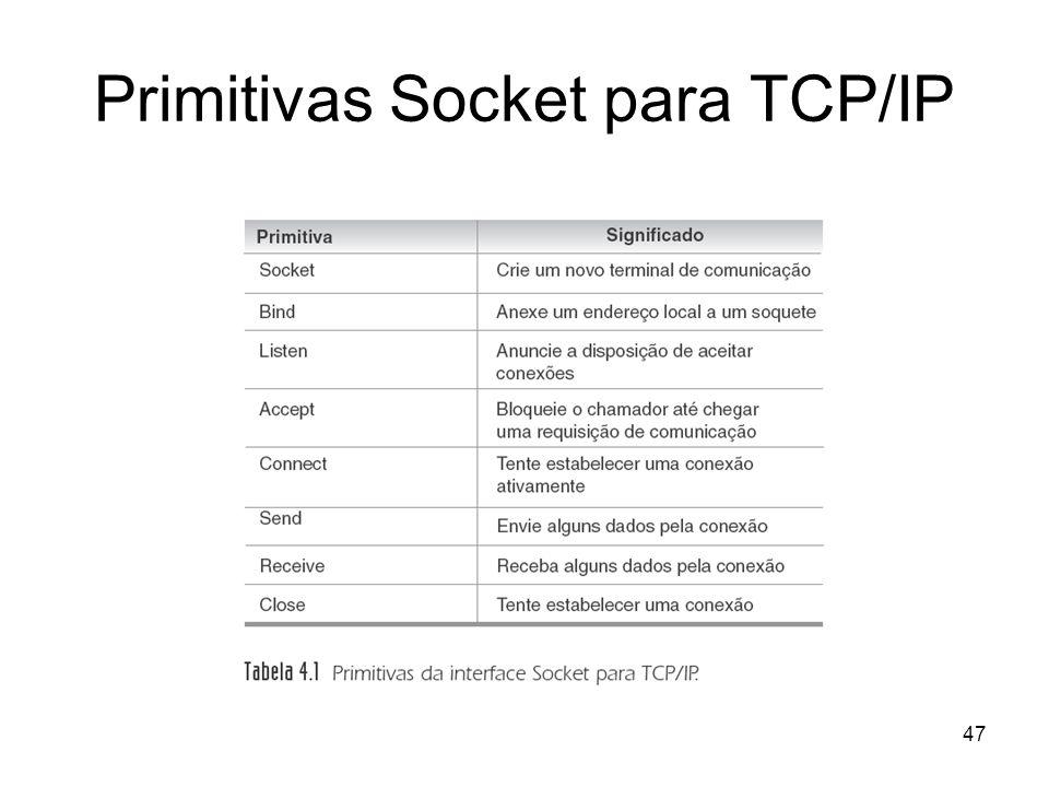 47 Primitivas Socket para TCP/IP