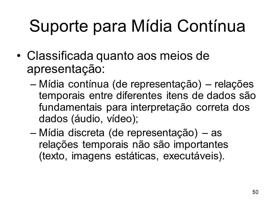 50 Suporte para Mídia Contínua Classificada quanto aos meios de apresentação: –Mídia contínua (de representação) – relações temporais entre diferentes