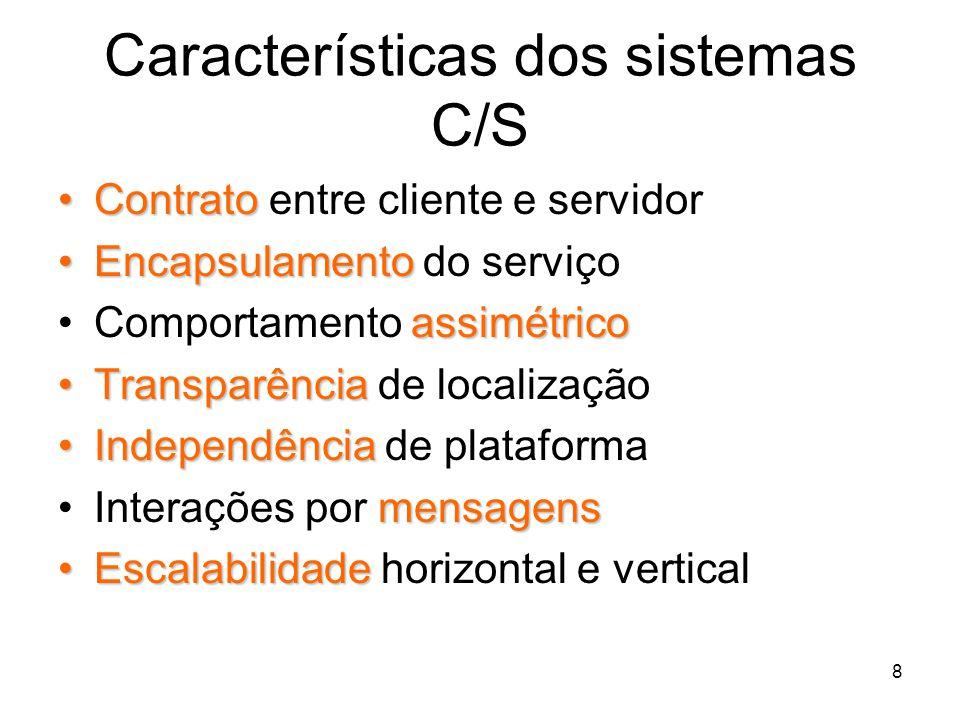 8 Características dos sistemas C/S ContratoContrato entre cliente e servidor EncapsulamentoEncapsulamento do serviço assimétricoComportamento assimétr