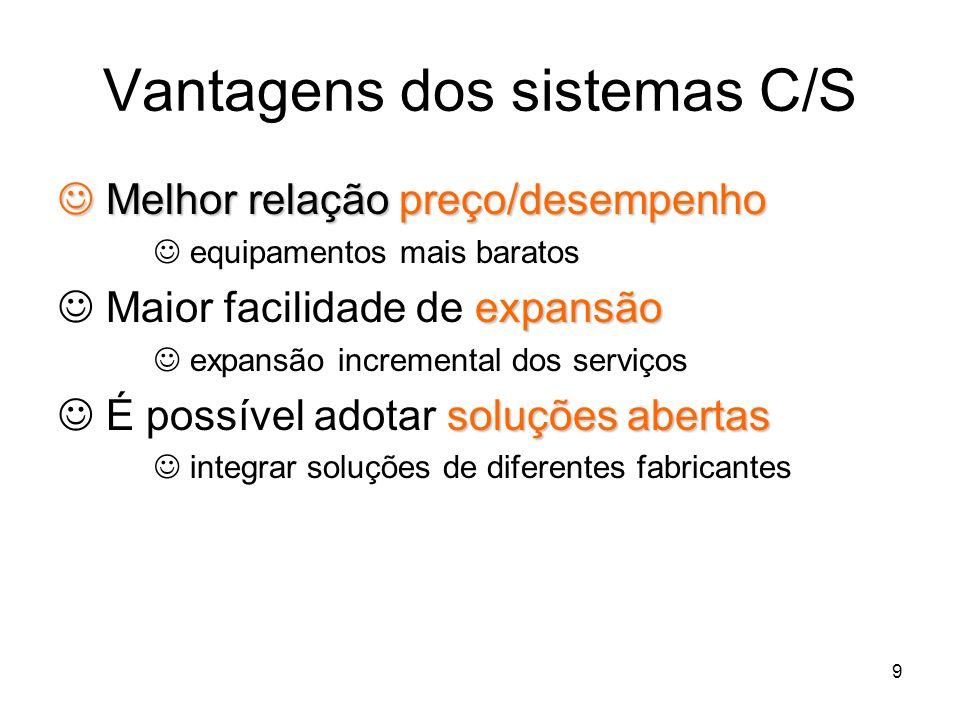 9 Vantagens dos sistemas C/S Melhor relação preço/desempenho Melhor relação preço/desempenho equipamentos mais baratos expansão Maior facilidade de ex