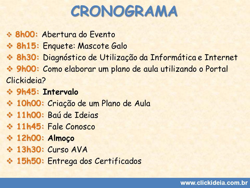 www.clickideia.com.br 8h00: 8h00: Abertura do Evento 8h15: 8h15: Enquete: Mascote Galo 8h30: 8h30: Diagnóstico de Utilização da Informática e Internet