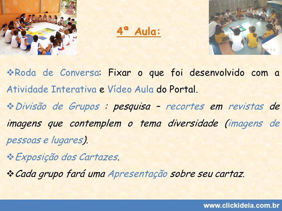 www.clickideia.com.br 4ª Aula: Roda de Conversa: Fixar o que foi desenvolvido com a Atividade Interativa e Vídeo Aula do Portal. Divisão de Grupos : p
