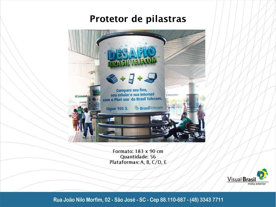 Protetor de pilastras Formato: 183 x 90 cm Quantidade: 56 Plataformas: A, B, C/D, E
