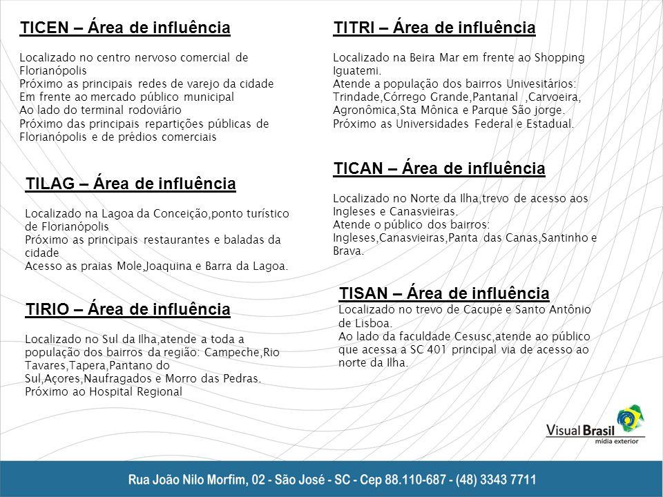 TICEN – Área de influência Localizado no centro nervoso comercial de Florianópolis Próximo as principais redes de varejo da cidade Em frente ao mercado público municipal Ao lado do terminal rodoviário Próximo das principais repartições públicas de Florianópolis e de prédios comerciais TITRI – Área de influência Localizado na Beira Mar em frente ao Shopping Iguatemi.