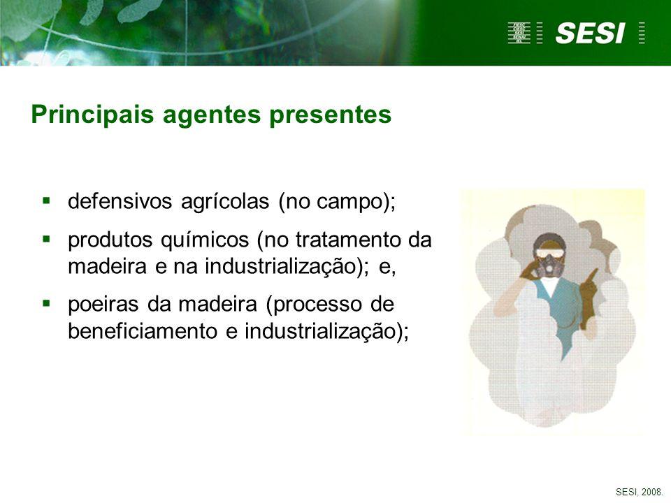 Principais agentes presentes defensivos agrícolas (no campo); produtos químicos (no tratamento da madeira e na industrialização); e, poeiras da madeir