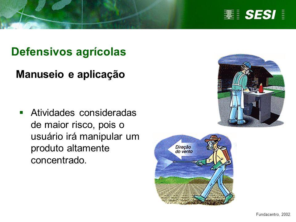 Manuseio e aplicação Atividades consideradas de maior risco, pois o usuário irá manipular um produto altamente concentrado. Defensivos agrícolas Funda